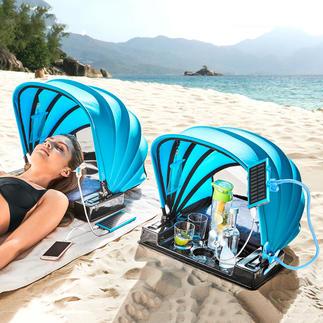 Strandmuschel 2.0 Portabler Schattenspender 2.0: klappbares Sonnendach mit Powerbank, Ladeanschluss und USB-Ventilator.