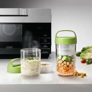 2-in-1 Lunch-Container Die bessere Lunchbox: bewahrt Salat & Dressing, Müsli & Früchte, Pasta & Soße, ... appetitlich getrennt.