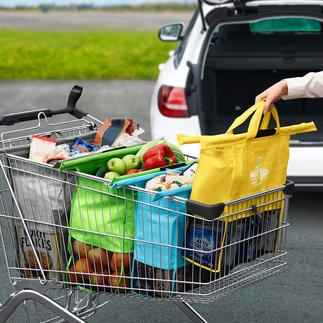 Trolley-Bags, 4er-Set Praktisches Taschen-Set zum Einhängen in den Einkaufswagen.