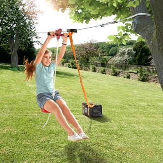 30-Meter-Seilrutsche Flug-Spaß für den eigenen Garten: Die 30 Meter lange Seilrutsche mit Tellersitz. Einfach zwischen zwei gesunden Bäumen zu befestigen.