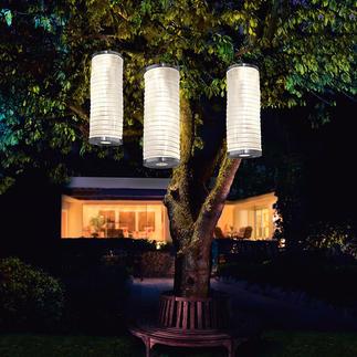 Solar-Lichtsäule, 3er-Set Stimmungsvoll leuchtende Lampions verzaubern Ihren Garten. Ohne Stromanschluss. Ohne Kerzen.