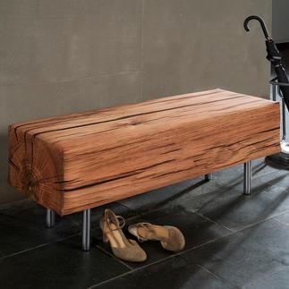 Sitzbank in Holzoptik Naturgetreu mit fotorealistischem Druck stoffbezogen. Für Drinnen und Draußen.