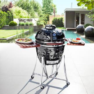 Vision Keramik-Grill 2-in-1: klassischer Barbecue-Grill und Steinofen in einem. Der einzige mit Holzkohle- und Gasbetrieb.