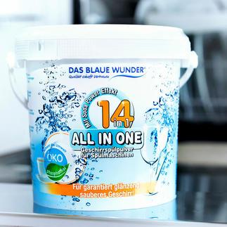 All-in-One Geschirrspülpulver 14 (!) Reinigungs-, Pflege- und Schutzfunktionen in einem (statt oft nur 7 – 10). Spart Geld und schont die Umwelt.