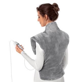 Heiz- und Massagekissen Wärmt von der Hüfte bis hoch in den Nacken und schmiegt sich perfekt um die Schultern.