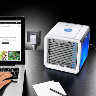 Personal Air-Cooler Das wohl kleinste Verdunstungs-Klima-Gerät der Welt. Kühlt, befeuchtet und reinigt die Luft.