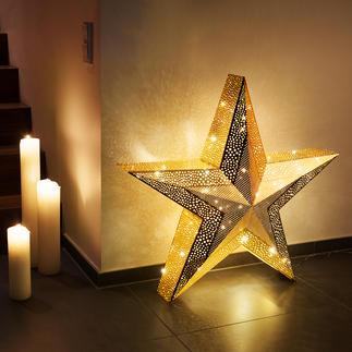 XXL-Weihnachtsstern Verzaubert mit verwunschenem Leuchten: Der goldfarbene 3D-Weihnachtsstern im XXL-Format.