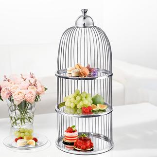Vogelkäfig Etagere Köstlichkeiten – hochelegant serviert in der dreistöckigen Vogelkäfig-Etagere.