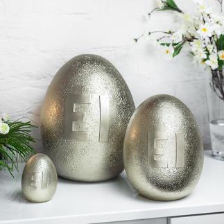 Metallic-Ei Außergewöhnlicher Osterschmuck: große, dezent schimmernde Eier in Steinoptik
