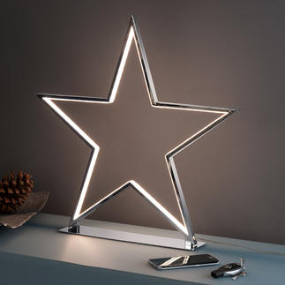 Sternenglanz Cooles, kitschfreies Deko-Objekt: der verchromte Stern mit LED-Leuchtkonturen.