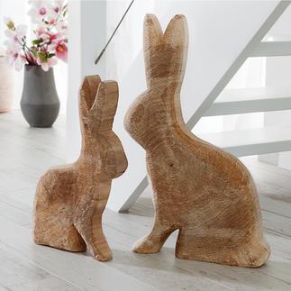 Holzhase Pappel Von Hand gefertigt – mit kerniger Oberfläche und sichtbaren Jahresringen. Immer ein Unikat.