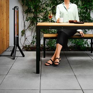Design-Terrassenwärmer HEATUP Erbringt in 5 Sekunden volle Leistung. Wärmt per Infrarot auf 2 m Entfernung ca. 4,2 qm. Von evasolo/Dänemark.