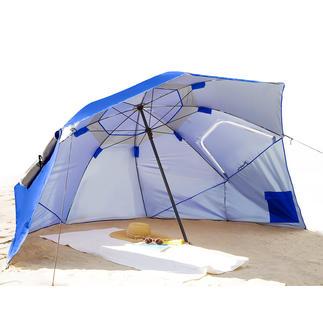 Beach-Brella Riesiges Sonnendach, Regen- und Windschutz zugleich. Einfach wie ein Schirm aufzuspannen.