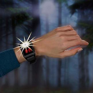 120-Dezibel Alarm-Armbanduhr Die Armbanduhr mit Alarmsirene: im Notfall mit einem Fingertipp aktiviert.