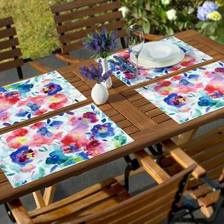 Aquarell-Tischsets, 6er-Set Kunstvoll wie Aquarell: Tischsets mit trendigen Blumenmotiven. Dauerhaft schön und robust, eine Freude für jeden Tag.