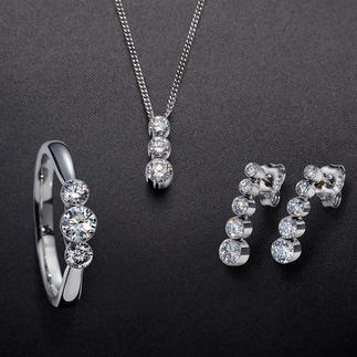 Schwebende Diamanten Kostbare Brillanten – schwebend zart in 18-Karat-Weißgold gefasst.