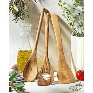 Olivenholz-Kochbesteck, 3-teilig Jedes ein Unikat: aus uraltem Olivenholz. Von Hand gefertigt und über Jahre schön. Schont empfindliche Antihaftbeschichtungen.