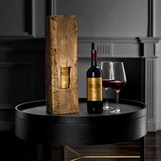 Weinpräsent im Eichenbalken Exklusives Unikat: 2011er Ornellaia Artist Edition – in antikem Eichenholz.