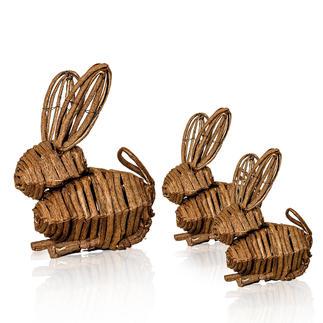 Weinreben-Hasen, 3er-Set Bezaubernde Frühlingsboten: Familie Hase aus handgeflochtenen Weinreben.
