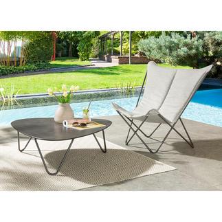 Klappbarer Lounge-Chair Sphinx oder Lounge-Tisch Bequem, platzsparend faltbar, leicht und mobil. Komfort und Qualität von Lafuma, Frankreich. Für drinnen und draußen.