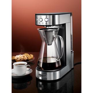 Pour-Over Kaffeemaschine Präzise Technik benässt das Kaffeepulver so gleichmäßig und sorgsam wie von Hand. 1.800 W Heizleistung liefern die konstant optimale Brühtemperatur.