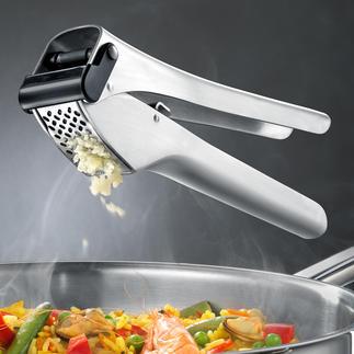 Knoblauchpresse Garlico Zerkleinert bis zu 3 Zehen zugleich. Auch ungeschält. Ohne großen Kraftaufwand.