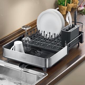 Ausziehbarer Abtropfkorb Platzsparend kompakt. Doch bei Bedarf mit einem Griff fast doppelt so groß: ideal auch für den großen Abwasch und sperrige Teile.