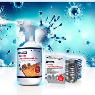 Langzeit-Desinfektionsspray oder -Desinfektionstücher Stoppt schädliche Keime noch bis zu 10 Tage (!) nach der Anwendung. Schafft nachhaltige Hygiene, schützt besser vor Keimverbreitung und Ansteckungsgefahr.