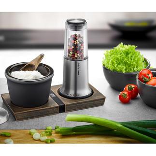 Pfeffer-/Salzmühle X-Plosion® oder Pfeffer- und Salz-Set X-Plosion®, 3-teilig Das bessere (und schönere) Pfeffer- und Salz-Set. Prämiertes Design. Überlegene Mahlwerk-Technik.