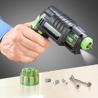 3-in-1Akku-Bohrschrauber Statt Körner, Bohrer und Akkuschrauber nur noch ein kompaktes Universal-Werkzeug.