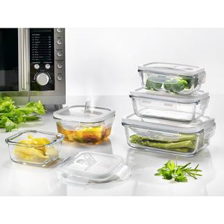 Glas-Frischeboxen, 5er-Set Must-have für die Mikrowelle: Die Glas-Frischeboxen mit innovativem Dampfventil.