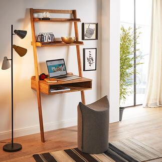 Eiche-Anstellsekretär Auf kleinstem Raum: Großzügige Ablagefläche mit integriertem Schreibtisch.