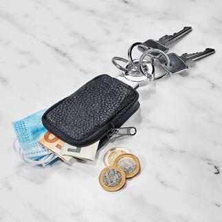 Pocket-Schlüsselanhänger Das kleine Ledertäschchen ist ideal für Kleingeld, Einkaufswagenchip, Maske, ...