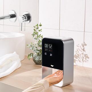 SensorSeifen-/Desinfektionsspender Stylishes Alu-Design (statt Plastik). Mit einstellbarer Dosiermenge und berührungsloser Ausgabe.