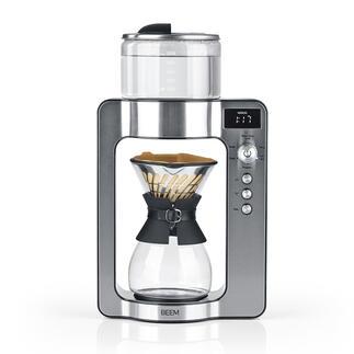 Pour-Over-Kaffeemaschine mit Waage Moderne Pour-Over-Technologie mit integrierter Kaffeewaage. Benässt das Pulver so gleichmäßig und sorgsam wie von Hand. Brüht Ihren Kaffee genau, wie Sie ihn mögen.