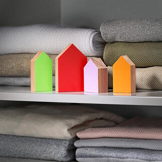 Wachhäuser,4er-Set Echtes Zedernholz: Ihr 100 % natürlicher und schönerer Mottenschutz. Hält Motten von Ihrem Kleiderschrank fern. Schützt und erfrischt Ihre wertvolle Garderobe.