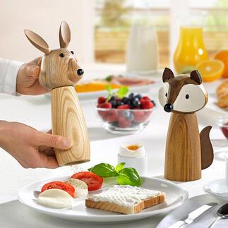 GewürzmühleHase und Fuchs Gewürzmühlen zum Schmunzeln: Fuchs und Hase aus natürlichem Akazien- und Eschenholz. Charmante Hingucker auf dem Esstisch.