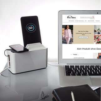 Design-Ladebox MiniStation Moderne Design-Box hält Smartphone, Tablet, E-Reader, ... beim Laden griffbereit. Und versteckt Kabel und Steckerleiste.