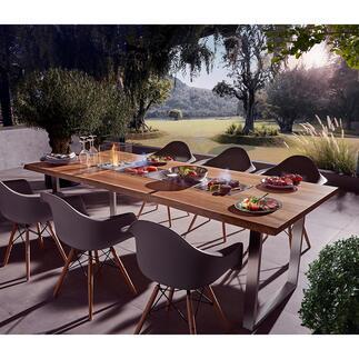 Design-Grilltisch mit 4Einsätzen Table-Cooking in seiner schönsten Form. Jeder Tisch ein Unikat, handgefertigt in der Schweiz. Exklusiv bei Pro-Idee.