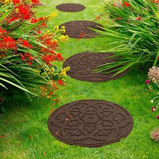 Recycling-Trittplatte Medaillon, 4er-Set Dekorativ. Nachhaltig. Und im Nu verlegt: Die Medaillon-Trittplatten aus recycelten Autoreifen.
