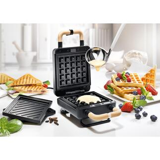 2-in-1Waffel- und Sandwichmaker Genial kombiniert: Waffeleisen und Sandwichmaker zugleich. Praktisches Kompaktformat in edlem Design.