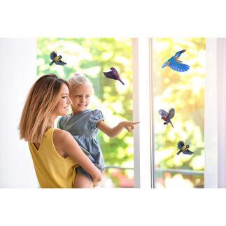 Vogelschutzaufkleber mit farbiger Innenseite, 10er-Set Vogelschutz und schmückender Blickfang in einem. Einfach anzubringen – rückstandsfrei abnehmbar.