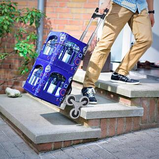 Faltbare Treppen-Sackkarre Überwindet Stufen und Hindernisse fast von allein. Platzsparend faltbar.