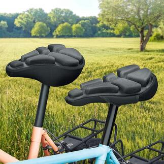 SoftAirSeat Bike Schluss mit Sitzschmerz auf dem Fahrrad. Der luftgepolsterte Sattelüberzug dämpft den Druck und federt Stöße ab.