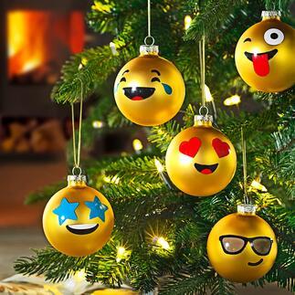 Emoji-Weihnachtskugeln, 12er-Set Die weltweit verständliche Bildsprache der Emojis – jetzt auch als witzige Weihnachtskugeln.