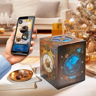 AdventskalenderZeitmaschine 24 Tage köstlicher Tüftlerspaß für Zeitreisende. Von Peters, Edel-Chocolatiers mit über 80-jähriger Tradition.