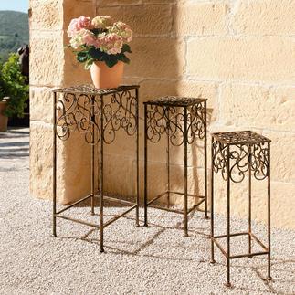 Pflanzenständer, 3er-Set Aus Schmiedeeisen kunstvoll von Hand gefertigt. Fantastisch vielseitig und 100 % wetterfest.