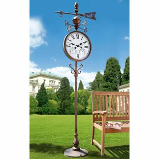 Park-Standuhr Uhrzeit, Temperatur, Luftfeuchtigkeit und Windrichtung – auch von Weitem leicht lesbar.
