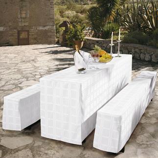 Fleckabweisende Tischwäsche Teflon® ummantelte Mikrofaser macht das Gewebe dauerhaft fleckabweisend und pflegeleicht.