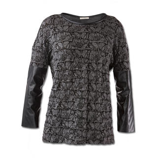 Pinko Rock-Chic-Shirt Fashion-Facts des Shirts: Schwarz/Grau. Spitzen- und Leder-Optik.